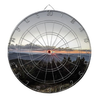sunset over mountains dartboards