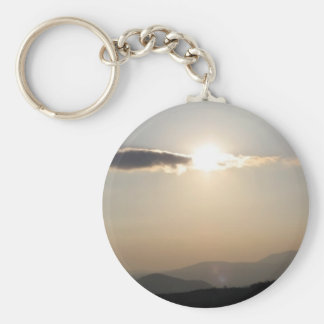 Sunset over mountains key ring