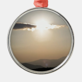 Sunset over mountains Silver-Colored round decoration