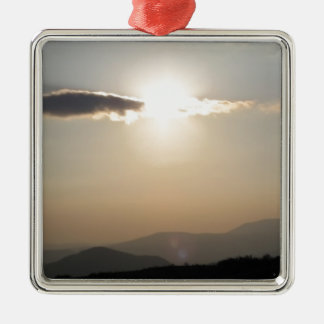 Sunset over mountains Silver-Colored square decoration