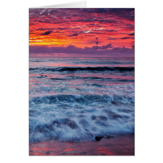 Sunset over ocean waves, California Card