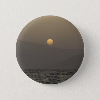 Sunset over Paros island mountains 6 Cm Round Badge