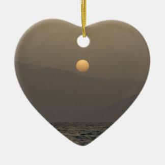 Sunset over Paros island mountains Ceramic Heart Decoration