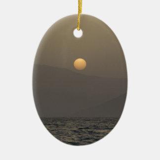 Sunset over Paros island mountains Ceramic Ornament