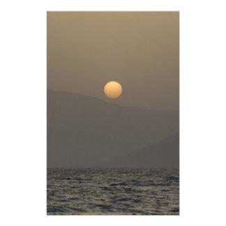 Sunset over Paros island mountains Customised Stationery