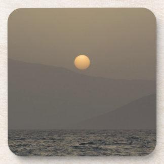 Sunset over Paros island mountains Drink Coaster