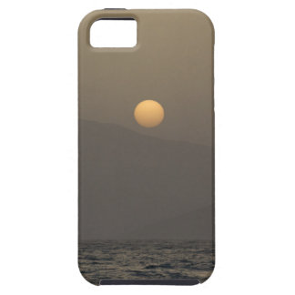 Sunset over Paros island mountains iPhone 5 Covers