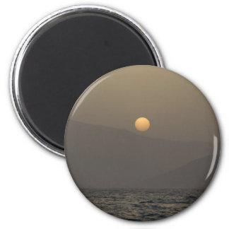 Sunset over Paros island mountains Magnet