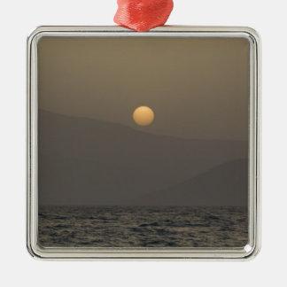 Sunset over Paros island mountains Metal Ornament