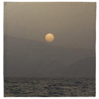 Sunset over Paros island mountains Napkin