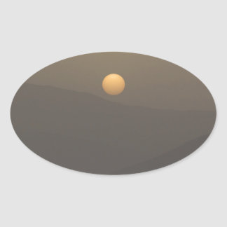 Sunset over Paros island mountains Oval Sticker