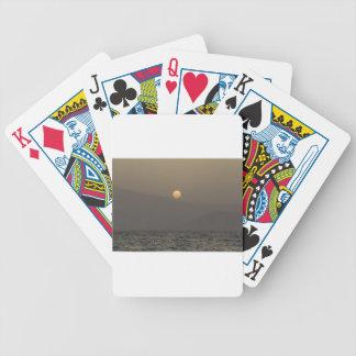 Sunset over Paros island mountains Poker Deck