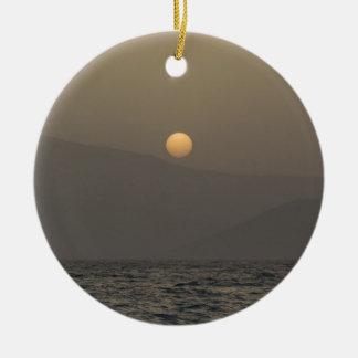 Sunset over Paros island mountains Round Ceramic Decoration