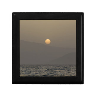 Sunset over Paros island mountains Small Square Gift Box