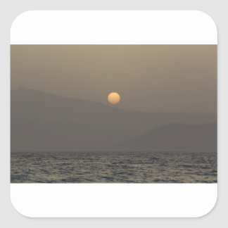 Sunset over Paros island mountains Square Sticker