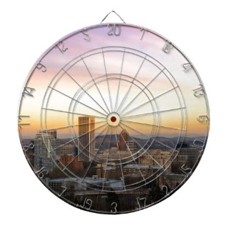 Sunset over Portland OR Cityscape and Mt Hood Dartboard