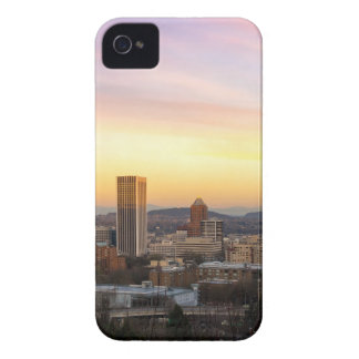 Sunset over Portland OR Cityscape and Mt Hood iPhone 4 Case-Mate Case