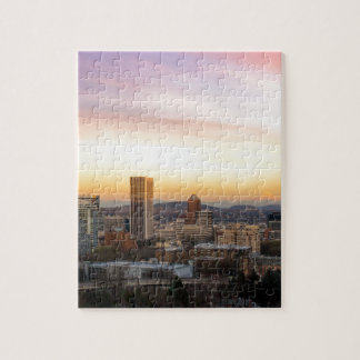 Sunset over Portland OR Cityscape and Mt Hood Jigsaw Puzzle