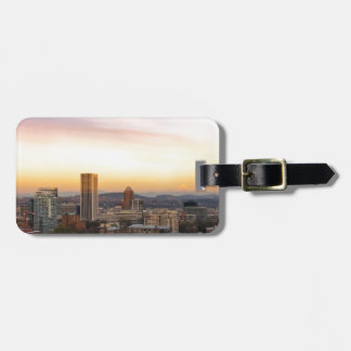 Sunset over Portland OR Cityscape and Mt Hood Luggage Tag