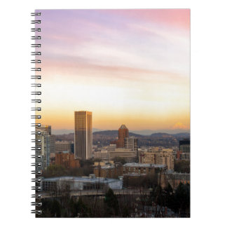 Sunset over Portland OR Cityscape and Mt Hood Notebook