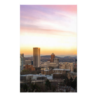Sunset over Portland OR Cityscape and Mt Hood Stationery