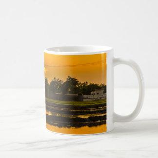 Sunset over rice fields basic white mug
