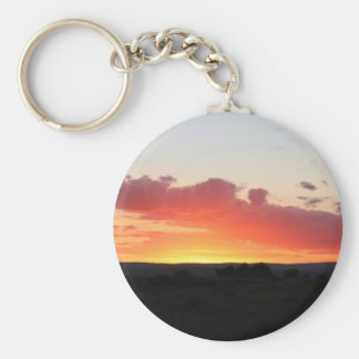 Sunset over Safari park in South Africa Basic Round Button Key Ring