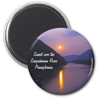 Sunset over Susquehanna River Pennsylvania 6 Cm Round Magnet