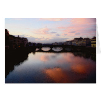 Sunset Over the Arno River Card