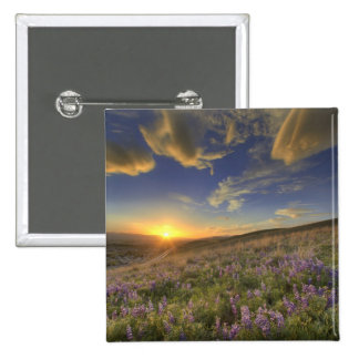 Sunset over the Bitterroot Mountains and vast 15 Cm Square Badge