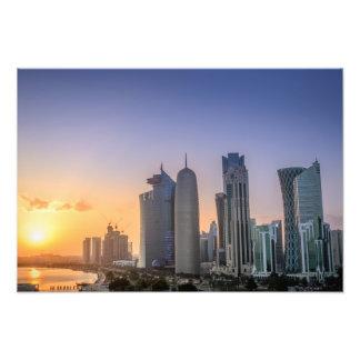 Sunset over the city of Doha, Qatar Photo Print