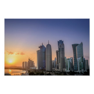 Sunset over the city of Doha, Qatar Poster