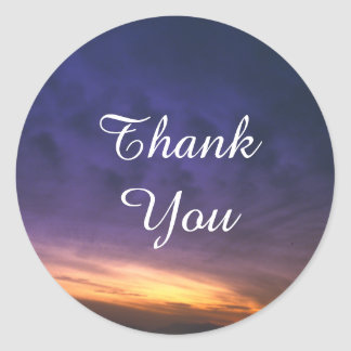 Sunset Over the Desert Thank You Classic Round Sticker