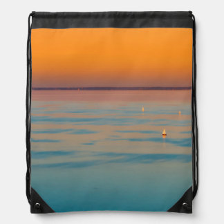 Sunset over the lake Balaton, Hungary Drawstring Bag