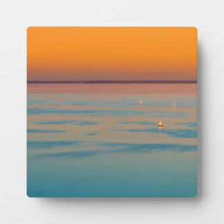 Sunset over the lake Balaton, Hungary Plaque