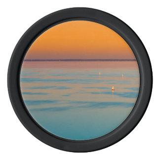 Sunset over the lake Balaton, Hungary Poker Chips