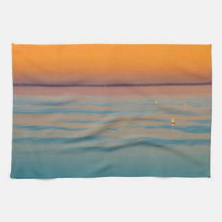 Sunset over the lake Balaton, Hungary Tea Towel