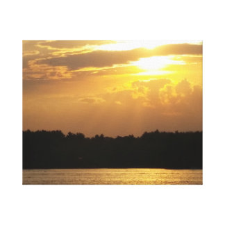 Sunset Over the Lake Gallery Wrapped Canvas