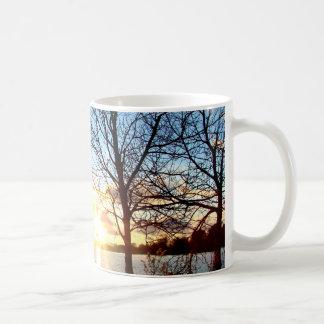 sunset over the lake mug