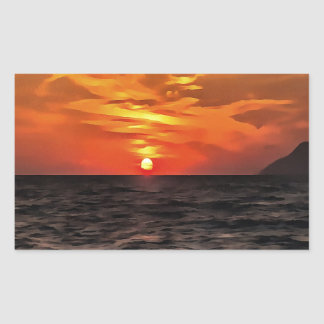 Sunset Over the Mediterranean Sea Rectangular Sticker