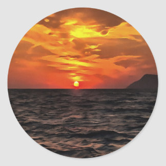 Sunset Over the Mediterranean Sea Round Sticker