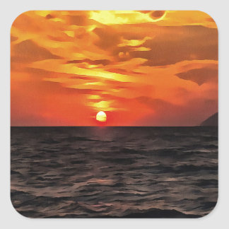 Sunset Over the Mediterranean Sea Square Sticker