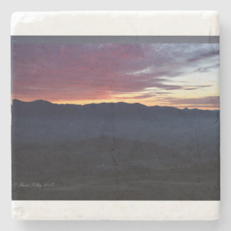 Sunset over the Mountains Stone Coaster