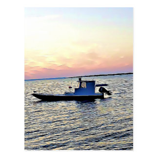 Sunset over the Ocean & Clam  Boat Postcard