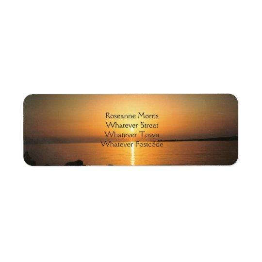 Sunset Over The Ocean Return Address Label
