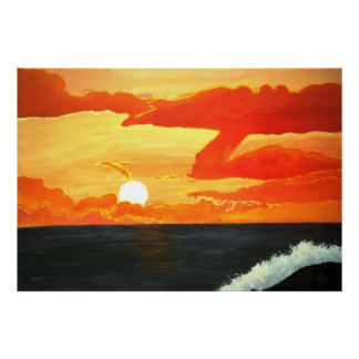 Sunset over the pacific ocean orange sunset print