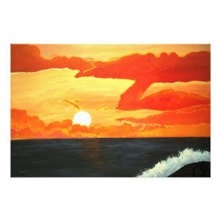 Sunset over the Pacific Ocean Painting Poster Art Photo Art