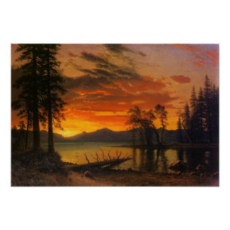 Sunset Over The River Poster