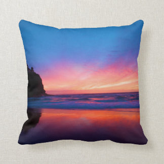 Sunset over the sea throw cushion