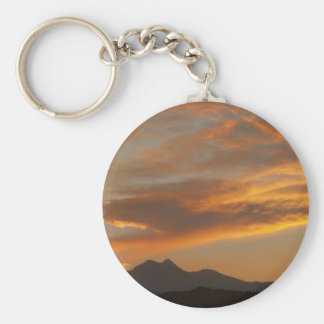 Sunset  over the Twin Peaks Basic Round Button Key Ring